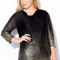 Foiled Hatchi Cowlneck Top-Plus Size Top-Avenue