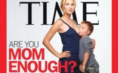 The cover features Jamie Lynne Grumet, a 26-year-old California mom, shown breast-feeding her son Aram, who turns four next month
