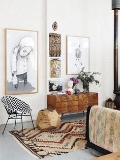 vintage and folk living room : The Northcote warehouse home of artist Carla Fletcher and her husband, musician Brett Langsford. Production – Lucy Feagins / The Design Files. Decoration Inspiration, Interior Inspiration, Decor Ideas, Room Ideas, Daily Inspiration, Fashion Inspiration, Design Inspiration, Home Living Room, Living Room Decor