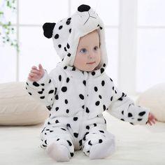 IDGIRL Cartoon Flannel Baby Animal Jumpsuit for 0-3 Months Kids
