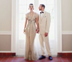 The Great Gatsby Wedding Inspiration wit a lovely @BHLDN Weddings Weddings dress + a wooden bow tie for the groom