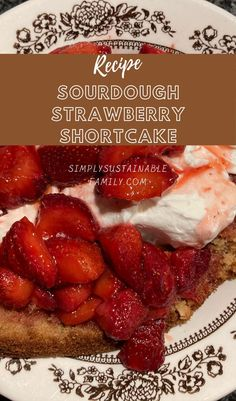 This delicious and light dessert is a new favorite for my family. The sugar content is low compared to most strawberry shortcake recipes. The sourdough white cake base can be done as either a Sourdough Discard recipe or as a Long-Ferment. Light Desserts, Desserts For A Crowd, Delicious Desserts, Easy Healthy Recipes, Whole Food Recipes, Keto Recipes, Sourdough Recipes, Sourdough Bread, Cooking Tips