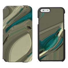 Grey and Blue Abstract Art / Incipio Watson™ iPhone 6, 2-in-1 Wallet Case + Interior Case!