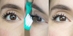 De-clump your mascara by combing through your lashes with a clean toothbrush. http://www.jexshop.com/
