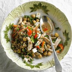Subtle in flavor bulgur and chickpeas collide with feta, mint, lime, and lots of garlic in this grain salad. Editor's Tip: If you prefer, swap bulgur for cooked brown rice or quinoa (just omit step 1). And eliminate chicken for a vegetarian meal! /