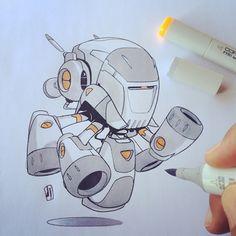 """#marchofrobots 15-008 'Cylon Nouveau' taking it offline and outside today. @wacom @astutegraphics @lazynezumipro @copicmarker @andrewprobert #creativelife"""