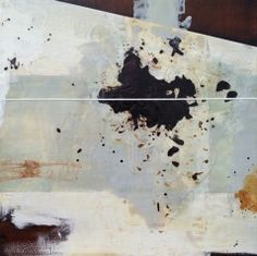 "Jeremy Mason | Pastiche no. 9 | wax, rust, paper, silk, graphic on wood panel, 31""x31"" /sm"