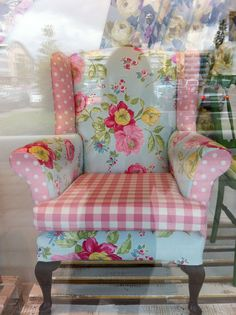 We like this patchwork chintz makeover of a 1920's wing back armchair #BourneEndAuctionRooms