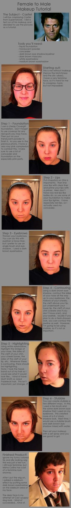 Female to Male Castiel Makeup Tutorial by sunkist3208.deviantart.com on @deviantART Pinning because of stubble.