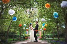 I love the pop of color in the trees!!!   Real Weddings: Prairie & Andris' San Fran Garden Wedding | Intimate Weddings - Small Wedding Blog - DIY Wedding Ideas for Small and Intimate Weddings - Real Small Weddings