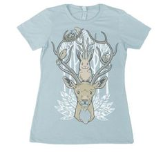 Women's Horn and Feather Friends by Tasha Chapman  http://www.t-shirts.com/womens-horn-and-feather-friends-tshirt.html