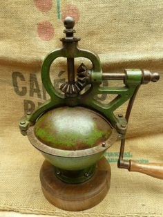 Antique French Coffee Grinder....RARE Green Lined by LeMoulinBleu
