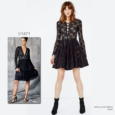Rocker-chic lace dress. Sew the look with Vogue Patterns V1471 dress sewing pattern by designer Nicola Finetti.