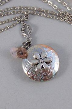 Teensie FlowerLocketSilver LocketAntique by ValleyGirlDesigns, $30.00