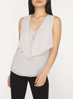 Womens Petite Silver Necklace Top- Silver