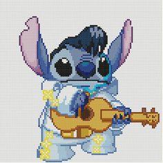 Stitch as Elvis Cross Stitch Pattern-Disney par KeenahsCrossStitch