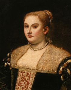 Unusual earring alternative (for non pierced ears perhaps?). Pearl necklace and in hair. 1550 Francesco Montemezzano (Italian, Venetian, ca. 1540–after 1602). Venetian Woman