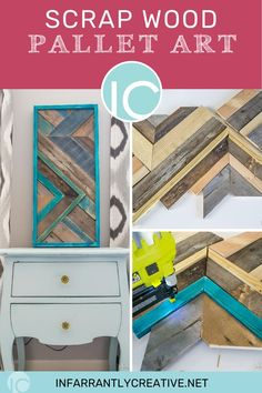 """Sometimes you need an easy DIY scrap wood project to make use of your scrap wood pile. I have a scrap wood pile in my garage that I would be embarrassed to take a picture of. I could make 100 of these and still not touch my scrap pile. I have a scrap wood hoarding problem. You just never know when you will need a 6"""" piece of wood. Especially when you get inspired and make this cute wood pallet quilt. Scrap Wood Projects, Diy House Projects, Easy Diy Projects, Art Projects, Wood Pallet Art, Wood Pallets, Decorating Your Home, Diy Home Decor, Knock Off Decor"""