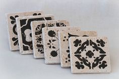 Set of 6 Natural Stone Coasters with Spanish Tile Designs on Travertine Tiles for Wedding Gift, Favor, Bridal Favor, Present, Home Decor by KabramKrafts on Etsy