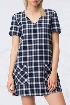 HYFVE Navy Plaid Dress - $51.00
