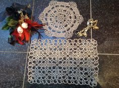 FREE SHIPPINGTwo Beautiful,Vintage, Ecru, Handmade, Cotton,Tatting Lace Doilies for a Dressing Table or Place Mats. These Are Not Identical.