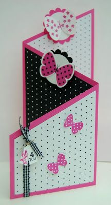 handmade card tutorial from Julie Kettlewell ...tTri-fold card ... black and white with hot pink ... Stampin' Up!