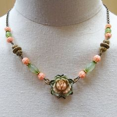 Resin Rose Upcycled Necklace Peach by RedeemedDesignsbyDeb on Etsy