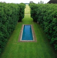 In between tall hedges or trees, is this a pond, or a secret swimming pool? lol Will have to study this one!