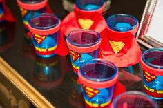 Superman shot glasses in a Wonder Woman bridal shower. Superman Birthday Party, Birthday Party Treats, Superhero Party, Boy Birthday Parties, Candy Party, Holidays And Events, Event Decor, Event Planning, Ideas Party