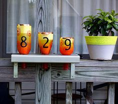 Wine Bottle Address Lanterns   AllFreeHolidayCrafts.com