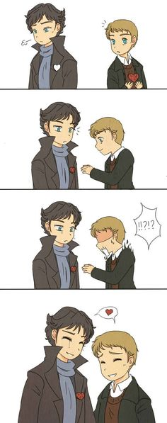 I haven't drawn Johnlock for a while so have a silly comic where Sherlock has a heart-shaped hole on his chest :). Sherlock Bbc, Sherlock Fandom, Sherlock Holmes Benedict, Johnlock, Benedict Cumberbatch, Benedict And Martin, Moriarty, Baker Street, Martin Freeman