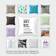 Start: Wednesday, 4/28/21 at 12:00AM PT End: Sunday, 5/2/21 at 11:59PM PT Details: 30% off tapestries, throw pillows, rectangular pillows, floor pillows, throw blankets, blackout curtains, sheer curtains, wall clocks, wallpaper, wall murals, credenzas, benches, counter stools, side tables, coffee tables, duvet covers, comforters, pillow shams, bath mats, shower curtains, hand & bath towels Outdoor Floor Cushions, Outdoor Flooring, Floor Pillows, Throw Pillows, Throw Blankets, Sheer Curtains, Blackout Curtains, Welcome Mats, Spring Cleaning