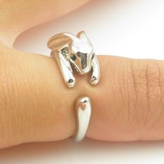 Bunny Animal Wrap Ring - Shiny Silver