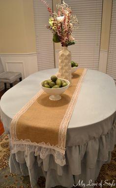 DIY Burlap and Lace Table Runner DIY Burlap DIY Crafts,.. cantiknyaaaa