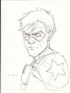 Bucky Barnes - The Winter Soldier sketch by Phil Noto << I love Noto. His Black Widow run was beautiful