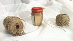 Handmade: Small jar engraved and decorated with rope , paper and red leather .  25 lei  6 euro   Just one piece. https://www.facebook.com/homemaderulescluj