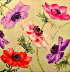 4  Servietten 33 - 33 cm.  Blumen von Nerikunst auf DaWanda.com