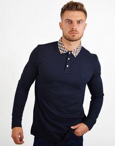 8ae025cedd63 Aquascutum Nathan L/S Club Check Collar Polo Shirt Navy Aquascutum, Mens  Designer Brands