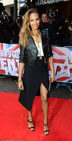 Edging it up: Alesha Dixon donned a leather jacket with an asymmetrical skirt at the Dominion Theatre in London on Wednesday for the Britain's Got Talent auditions