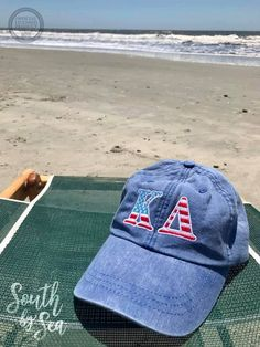Kappa Delta | KD | Embroidered Pigment Dyed Hat | Beach Life | USA America | Sorority Fall Fashion | Sorority Accessories | South by Sea | Greek Tee Shirts | Greek Tank Tops | Custom Apparel Design | Custom Greek Apparel | Sorority Tee Shirts | Sorority Tanks | Sorority Shirt Designs