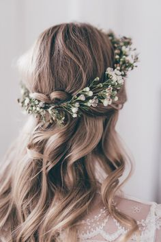wedding bridesmaid hair inspiration with flower crown