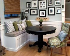 I wish I had room for a breakfast nook in my current house. This one is so cute!