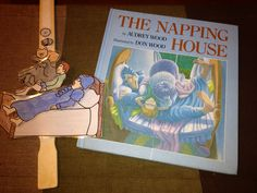 retellinig: Story stick ( paint stick with velcro ) for The Napping House by Audrey Wood. Printables from makinglearningfun.com