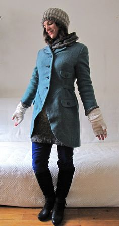 Cut-away coat re-fashioned from a vintage suit.