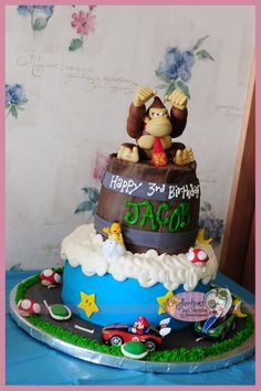 """Mario Kart Donkey Kong cake By preciouspjs on CakeCentral.com.  this is going to say """"Happy 21st Birthday RJ!"""""""