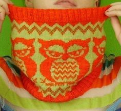 PDF Knitting  Pattern the  Fair  Isle Owlie Cowl. $5.00, via Etsy.