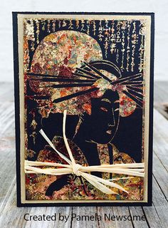 ATC by Pamela Newsome using Kimono Vol 1 Rubber Stamp Set. Touch Of Gold ATC Swap Gallery