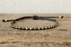 Black and gold bracelet, Small hematite semi precious stone jewelry, Bohemian jewelry, Bracelet for him, Bracelet for her, Natural Hematite by Amoreecolore on Etsy