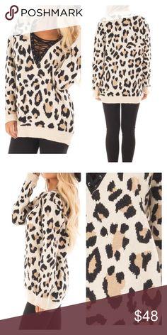 e4c7c06fe5 Leopard Print Strappy V Neck Sweater