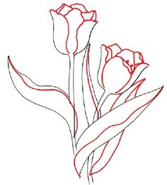 When drawing a tulip, draw the outside petals, the inner petals, and the right-hand tulip.